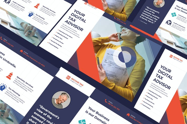 Cover Image For Income Tax A5 Business Flyer PSD Template