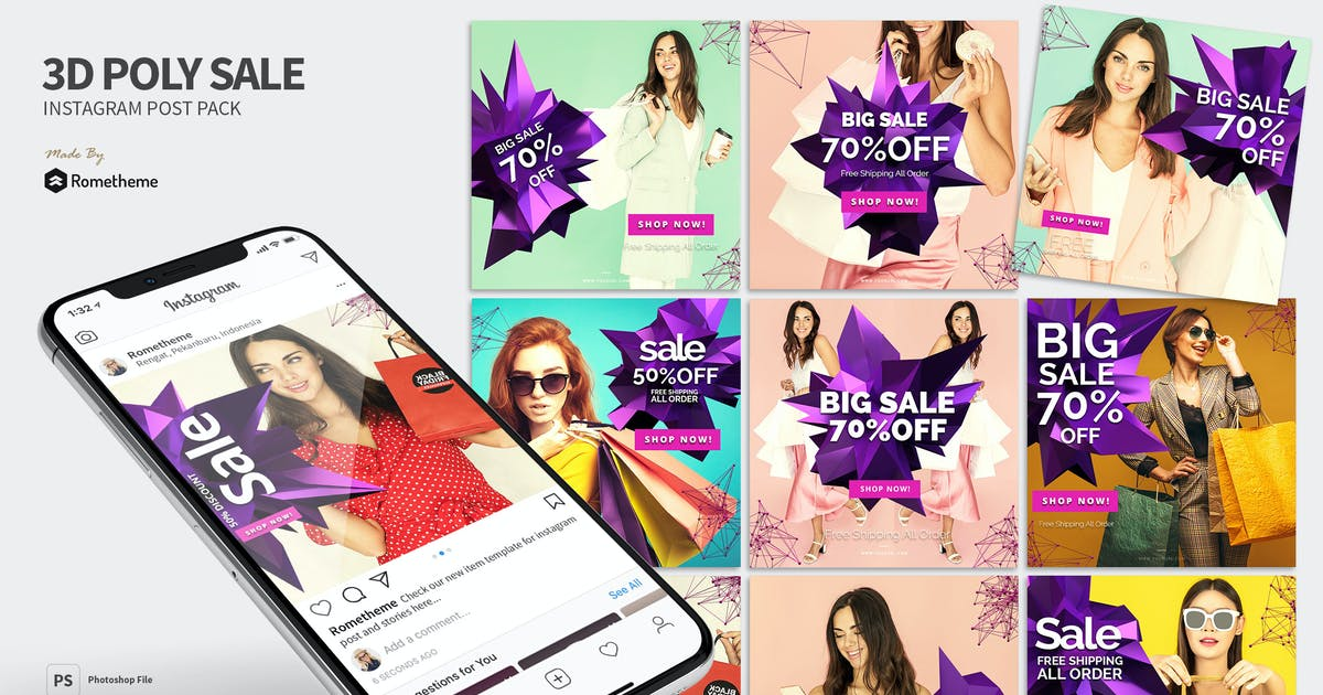 Download 3D Abstract Poly Sale Banner Instagram Post MR by Rometheme