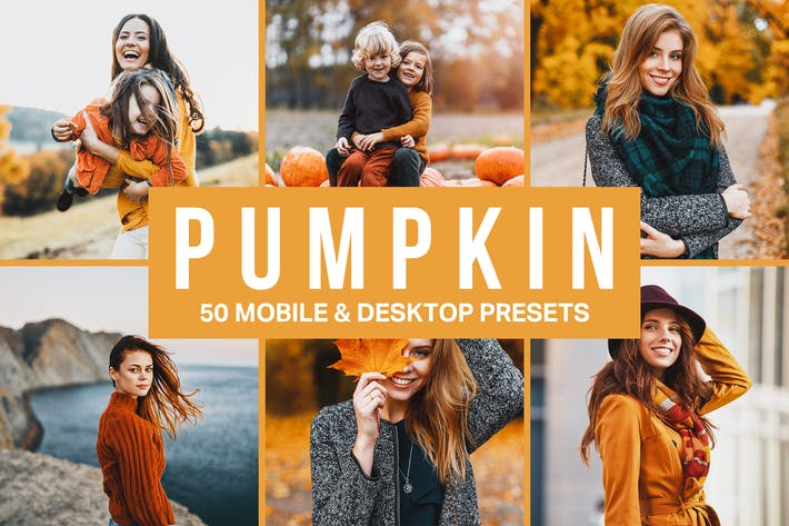 Cover Image For 50 Pumpkin Orange Lightroom Presets and LUTs