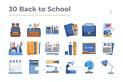 30 Back to School Icons - Flach