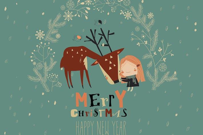 Cute girl hugging deer in Christmas wreath. Vector