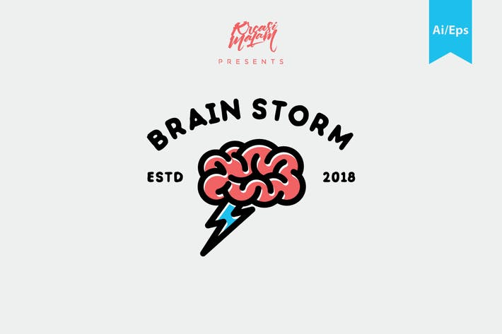 Thumbnail for Brain Storm Logo Template