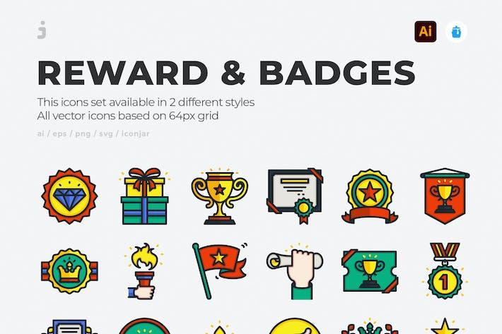 30 reward and badges icons