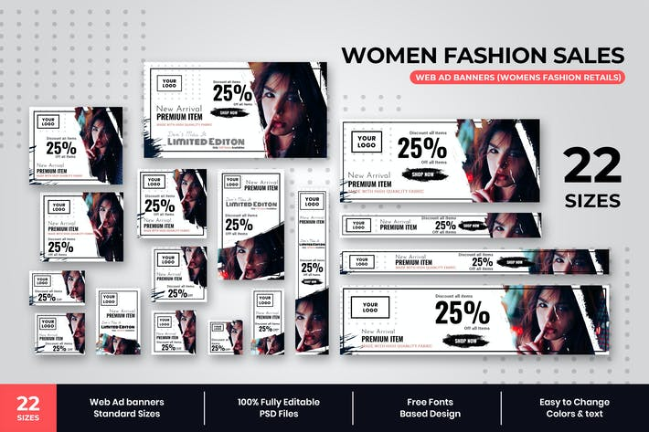 Thumbnail for Womens Fashion Sales Web Ad Banners