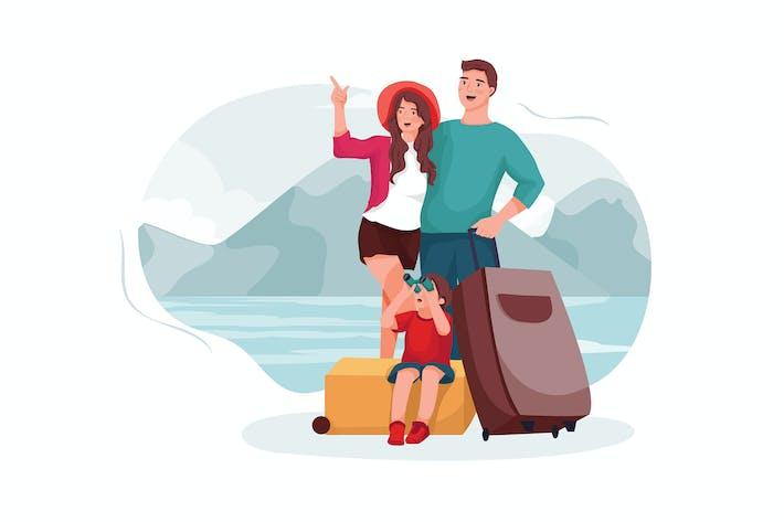 Родители и сын отправились в туристическое направление.