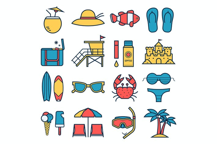 Sommer-Strand-Urlaub-Symbole