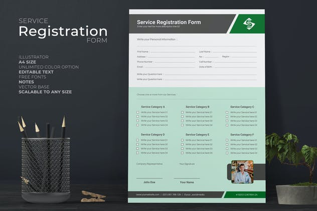 Clean Service Form With Green Accent