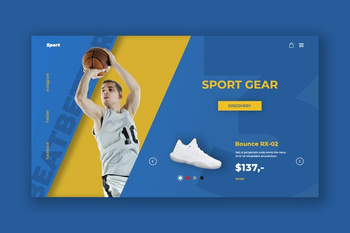 Thumbnail for Sport Gear Hero Header PSD Template