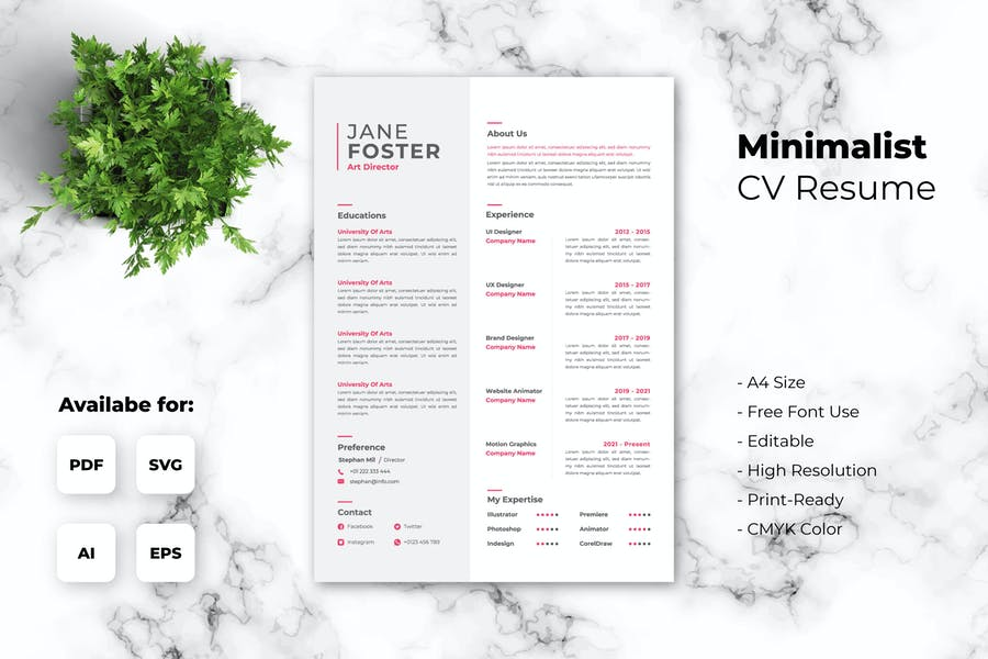 Minimalist Resume Template - iWantemp