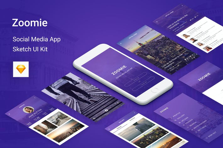 Cover Image For Zoomie - Social Media Mobile APP for Sketch