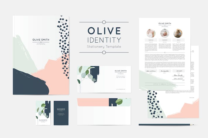 Cover Image For Olive Identity Stationery Template