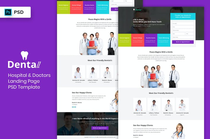 Thumbnail for Hospital & Doctors - Landing Page PSD Template-03
