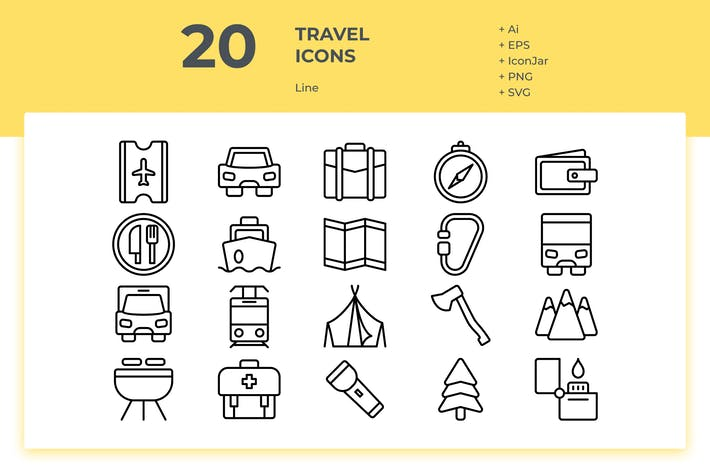 Thumbnail for 20 Travel Icons (Line)