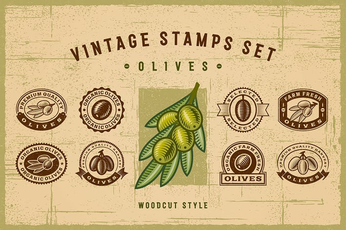 Thumbnail for Vintage Olive Stamps Set