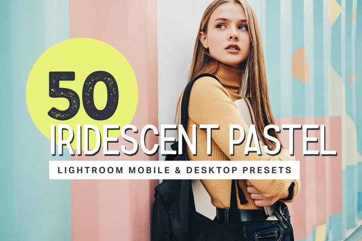 Thumbnail for 50 Iridescent Pastel Lightroom Presets and LUTs