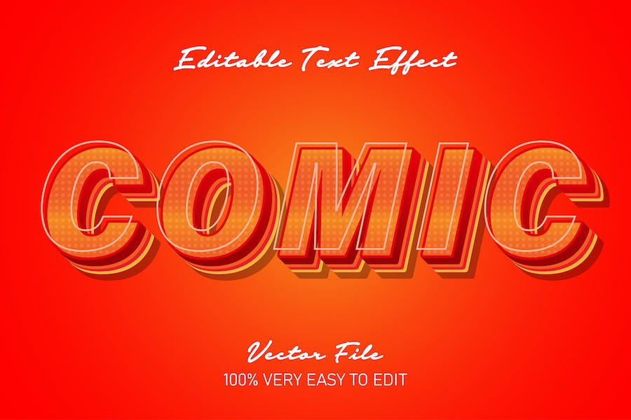 red comic text style effect