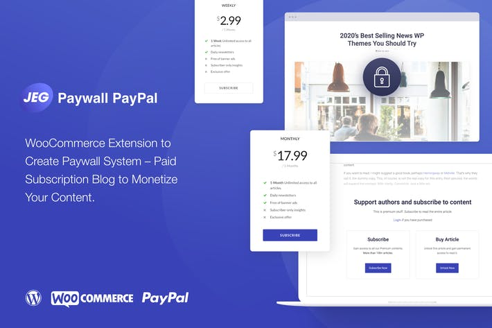 Thumbnail for Jeg PayPal Paywall & Content Subscriptions System