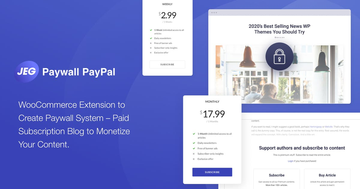 Download Jeg PayPal Paywall & Content Subscriptions System by jegtheme