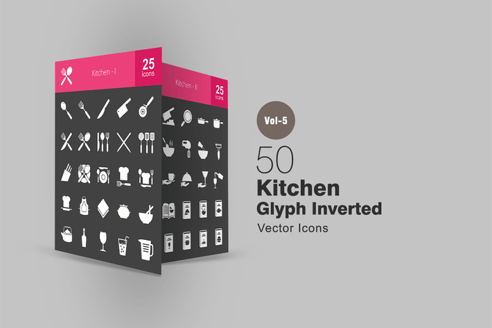 Thumbnail for 50 Kitchen Glyph Inverted Icons