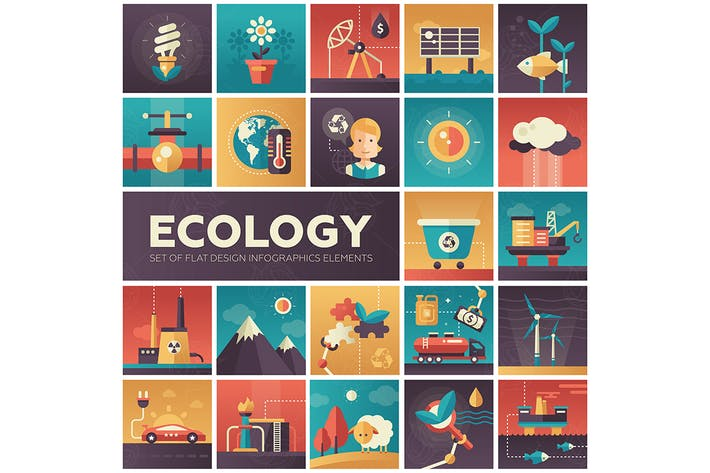 Thumbnail for Ecology - modern flat design style icons
