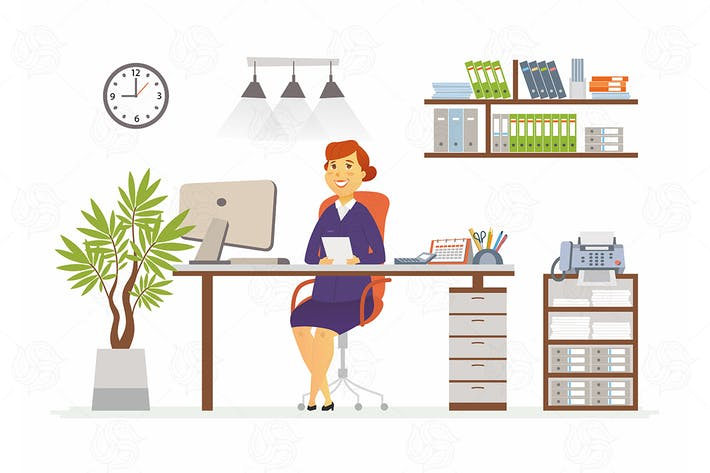 Office Woman - vector flat design illustration
