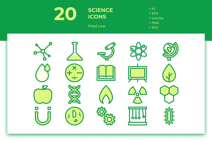 Thumbnail for 20 Science Icons (Filled Line)