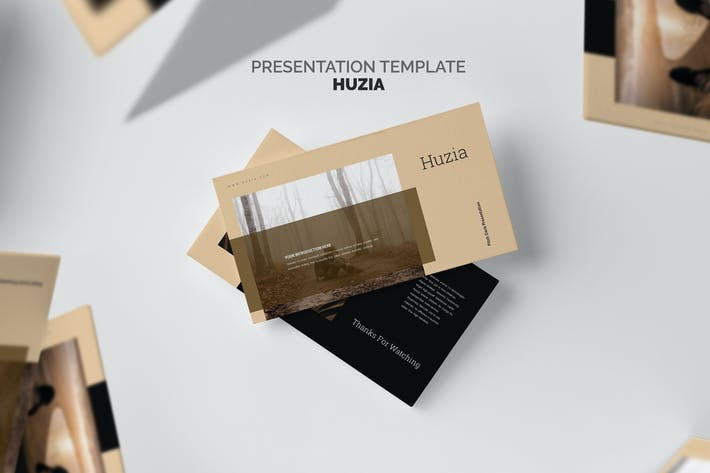 Huzia : Brown Color Tone Pitch Deck Keynote