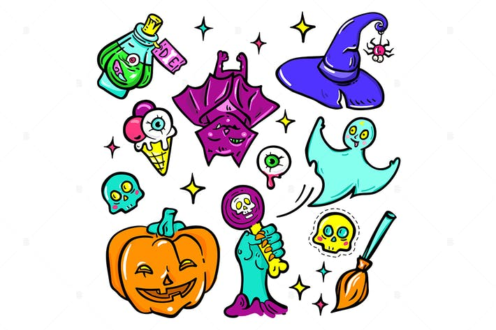 Thumbnail for Halloween symbols - vector isolated stickers set