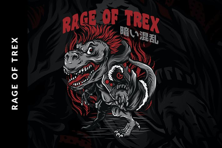 Rage of T-Rex T-Shirt Design