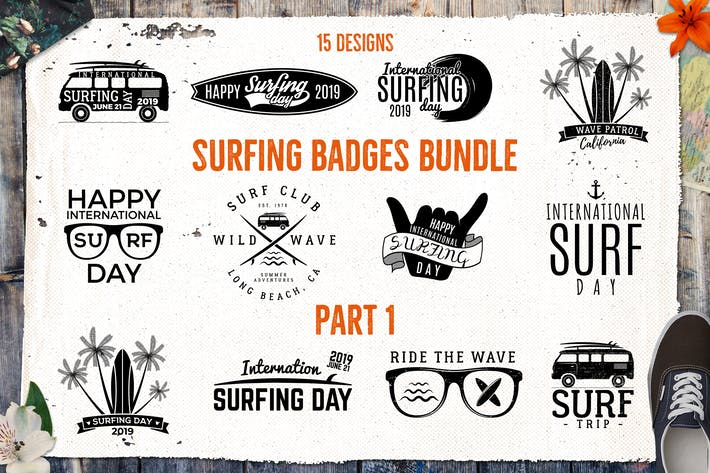 Thumbnail for Summer Logo / Surfing Badges & Elements