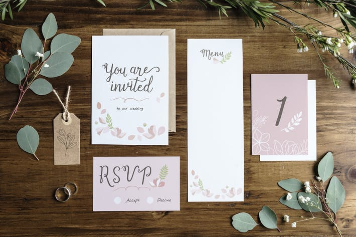 Thumbnail for Flatlay floral wedding invitation mockup