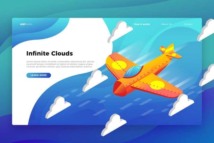 Thumbnail for Airplane Clouds - Banner & Landing Page
