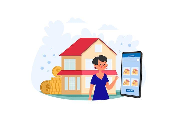 Frau sucht Haus um Illustration zu kaufen