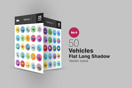 50 Fahrzeuge Flache Shadowed Icons