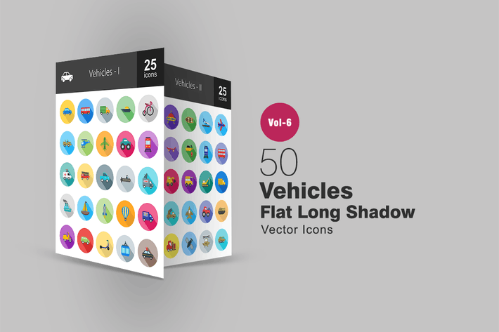 Thumbnail for 50 Vehicles Flat Shadowed Icons