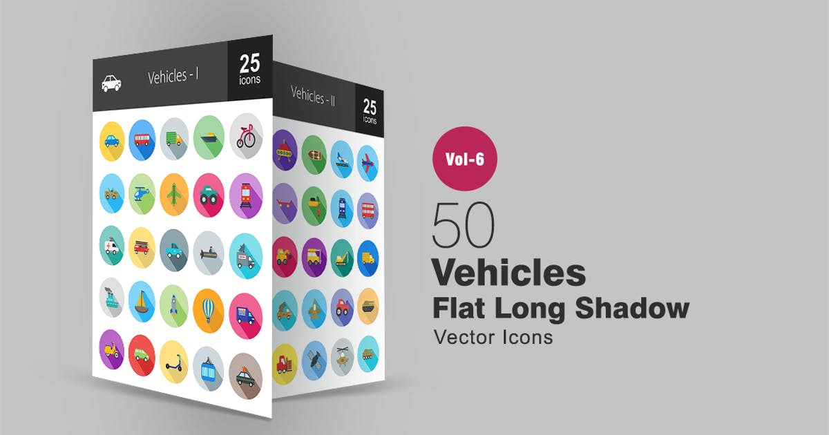 50 Vehicles Flat Shadowed Icons by IconBunny