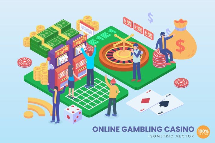 Thumbnail for Isometric Online Gambling Casino Vector Concept