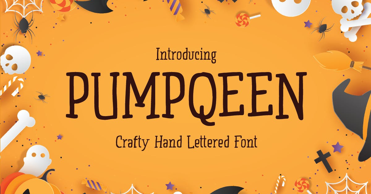 Download PUMPQEEN - Halloween Hand lettered Quirky Font by HamzStudio