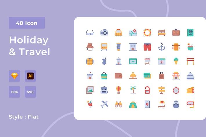 Праздник и путешествия плоский стиль Icon Pack
