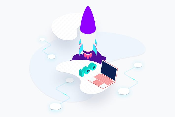 Thumbnail for Blockchain Platform ICO Rocket Isometric