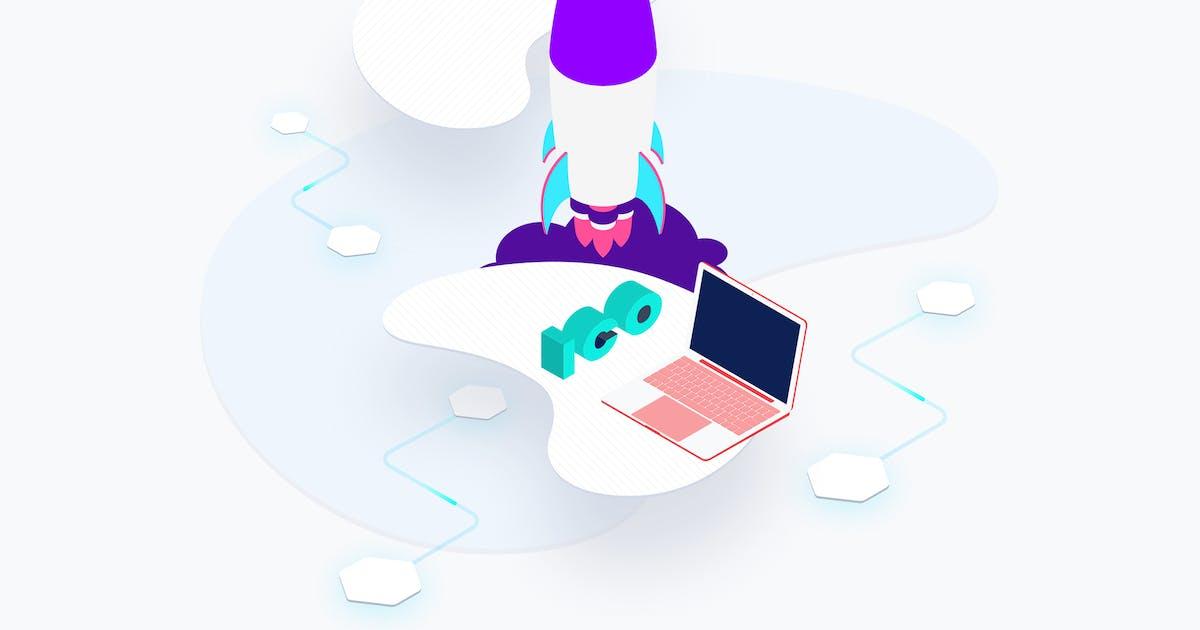Download Blockchain Platform ICO Rocket Isometric by angelbi88