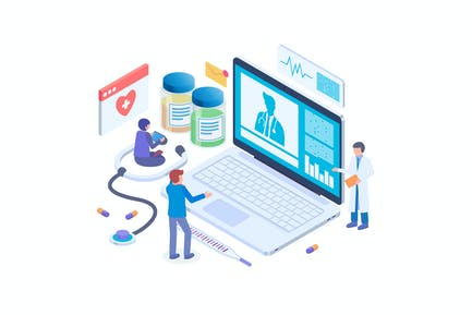 Online Doctor Technology Isometric Vector