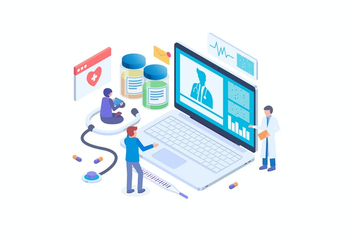 Thumbnail for Online Doctor Technology Isometric Vector