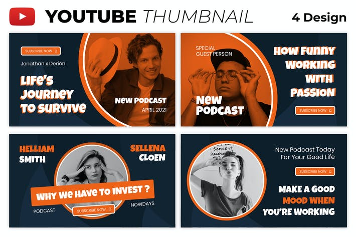Podcast Influencer Youtube Thumbnail Template