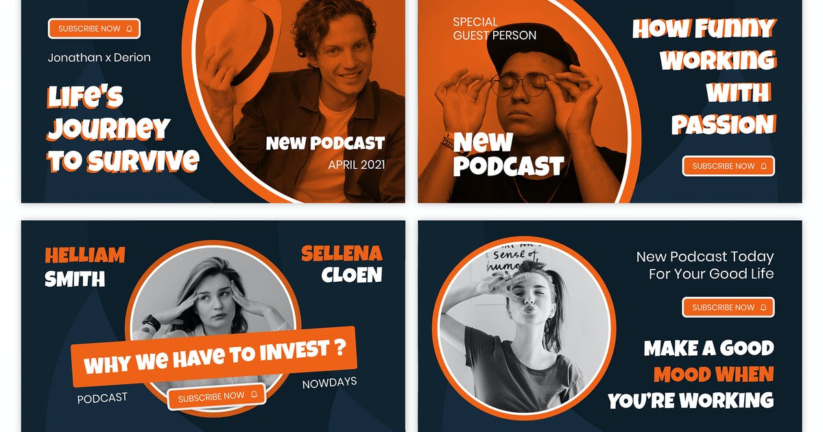 Download Podcast Influencer Youtube Thumbnail Template by giantdesign