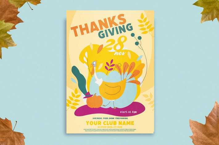 Thumbnail for Autumn Thanksgiving Flyer Template