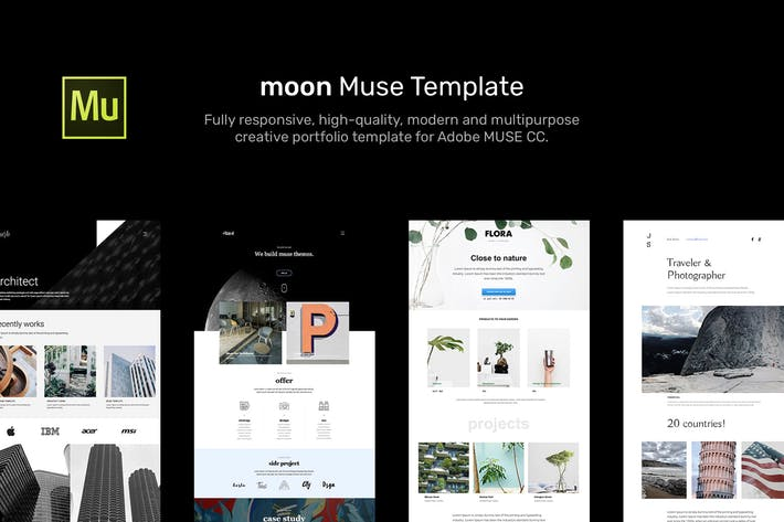 Thumbnail for moon - Responsive Portfolio Adobe Muse Templates