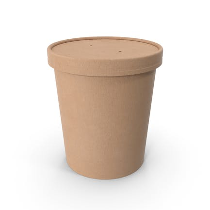Kraft Paper Food Cup with Vented Lid Disposable Ice Cream Bucket 32 Oz 900 ml
