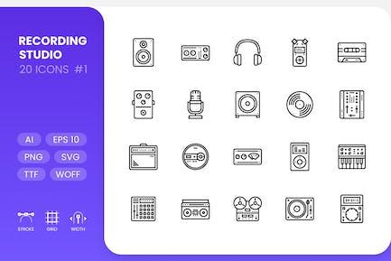 Recording Studio - Line Icons