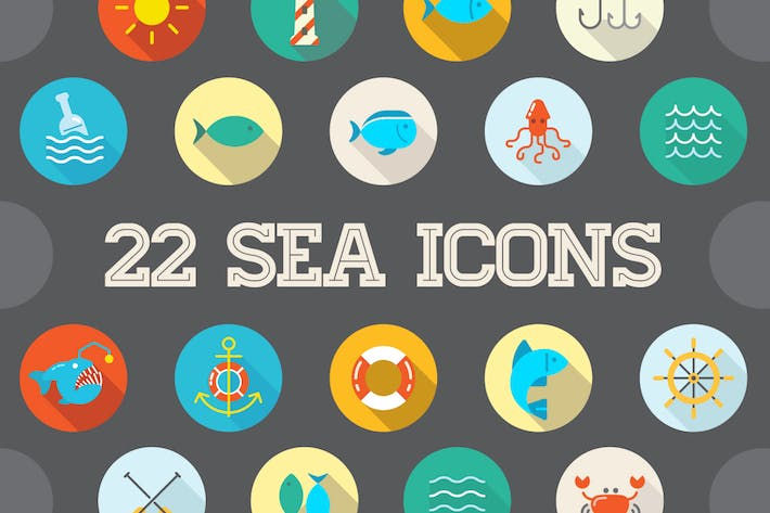 Thumbnail for 22 Vector Sea Flat Icons Set